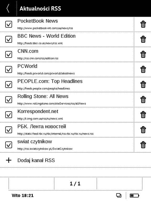 PocketBook Basic Touch 2 Save & Safe – lista kanałów RSS
