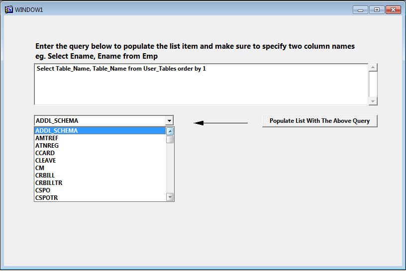 Populate A List Item With Record Group In Oracle Forms Using
