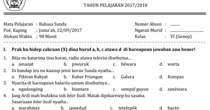 Contoh Soal Uts Bahasa Sunda Kelas 4 Semester 1 Key