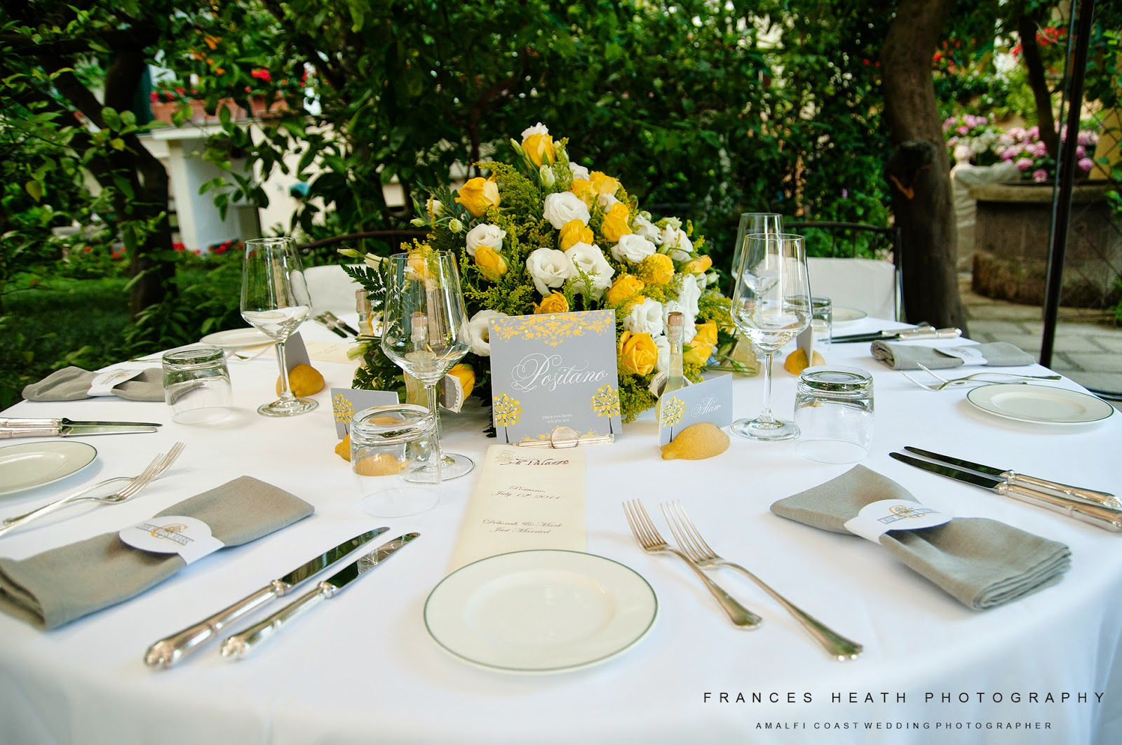 Wedding table decorations with lemons at Palazzo Murat in Positano