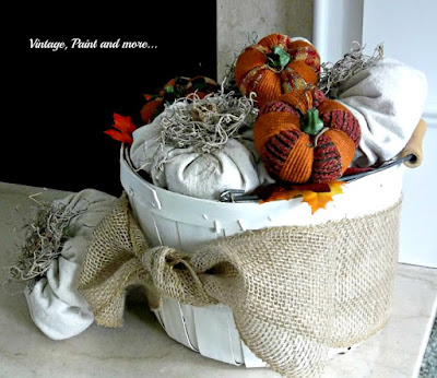 Vintage, Paint and more... burlap pumpkins