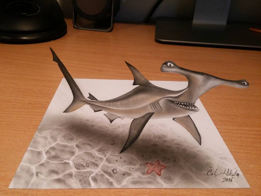 10-Anchor-Shark-Finding-Nemo-Nikola-Čuljić-2D-Realistic-Drawings-that-look-3D-and-a-Video-www-designstack-co