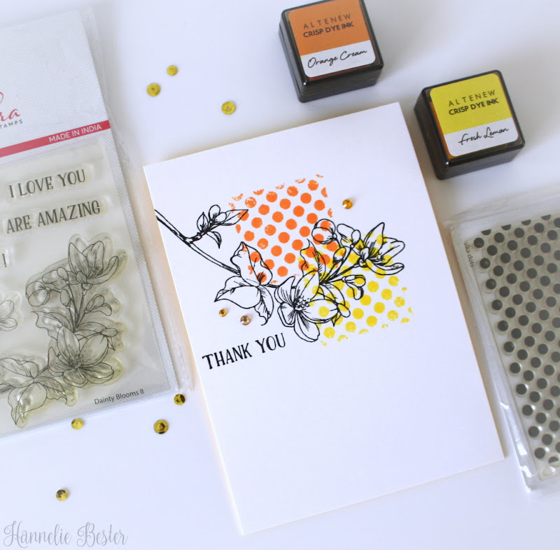 one layer floral card- Mudra craft stamps