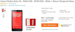 Harga Terbaru Xiaomi Redmi Note Bonus Tempered Glass