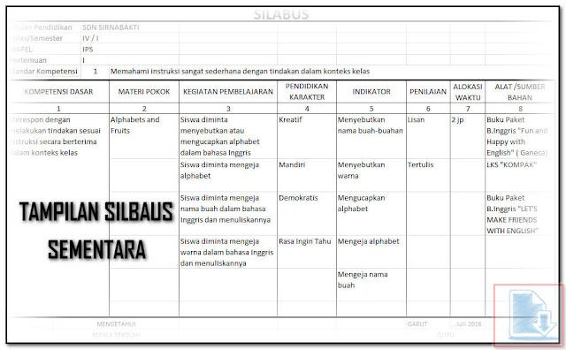 Hasil Sementara Silabus Pada Aplikasi Cetak RPP Silabus Otomatis Format Excel.Xls