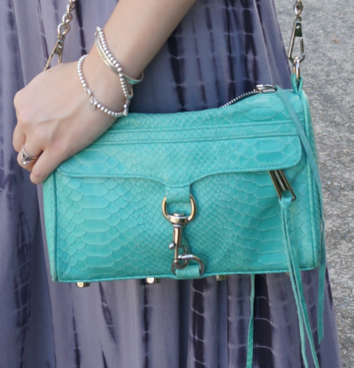 Rebecca Minkoff aquamarine mini MAC bag python snake embossed leather