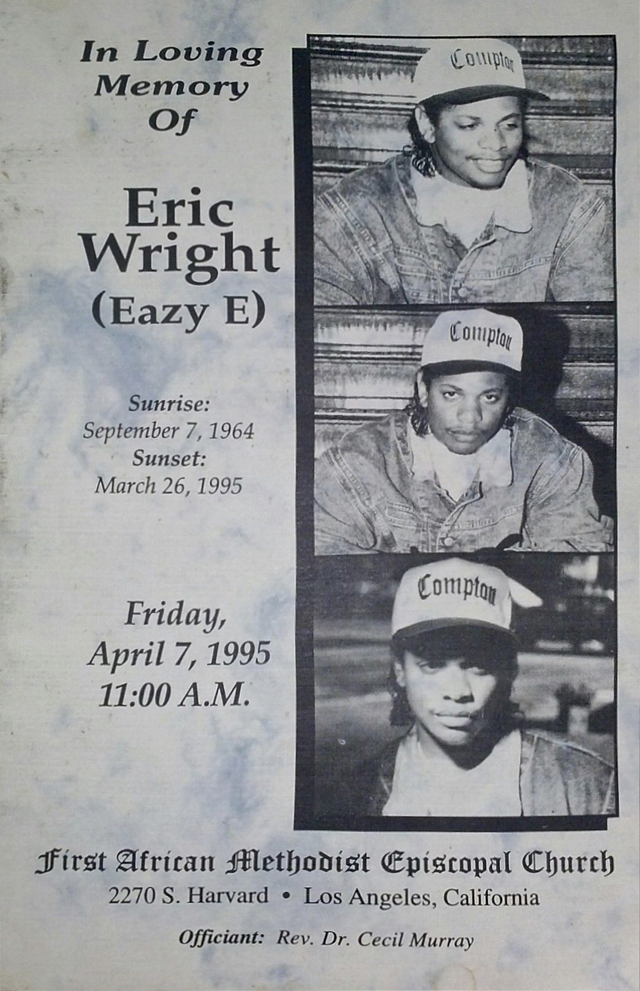 Eazy-E Rest In Peace Eric Wright Funeral Booklet