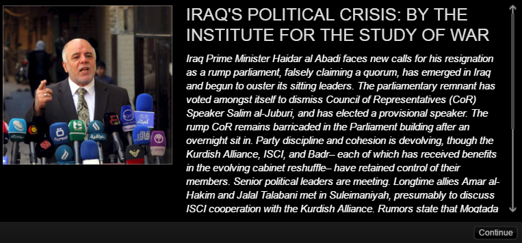 ISW's Interactive Timeline of the Iraqi Political Crisis