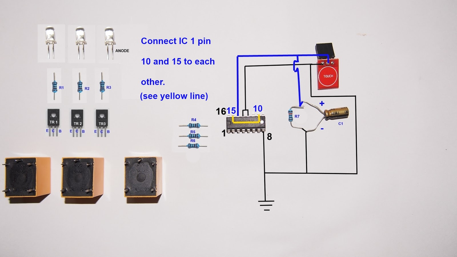 3 ways touch selector switch circuit diagram