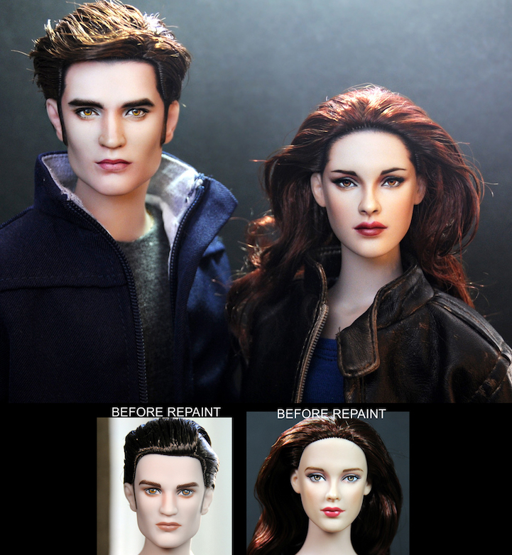 28-Twilight-Bella-Swan-Kristen-Stewart-Robert-Pattinson-Noel-Cruz-Hyper-Realistic-Make-up-on-small-Dolls-www-designstack-co