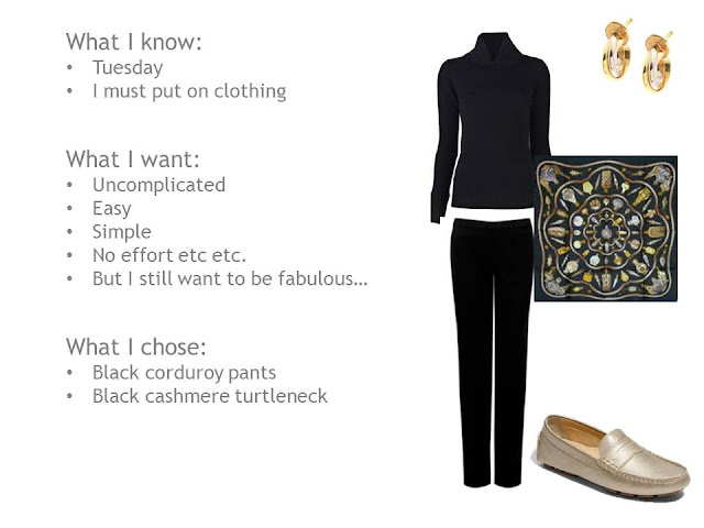 black sweater and pants, Hermes sweater, gold loafers