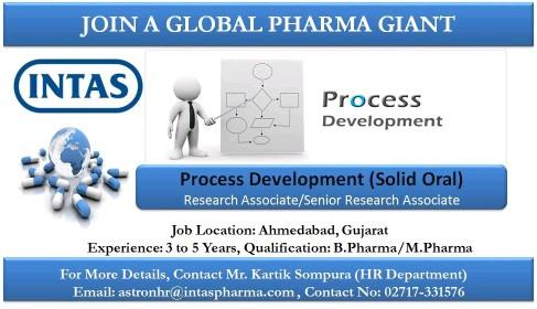 Intas Pharma Job Vacancy For Process Development, Regulatory Affairs,QA,Packaging, Formulation Hurry Up Apply Now