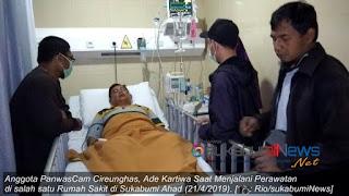 Ade Kartiwa(45), Staff Divisi Panwascam Cireunghas, Kabupaten Sukabumi terkena serangan stroke saat merekap hasil Pemilihan Umum (PEMILU) 2019. Dia diduga terkena serangan Stroke beberapa hari lalu karena kecapekan. Namun kondisi Ade kini sudah mulai membaik.
