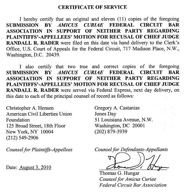 Thomas G. Hungar, Counsel for Federal Circuit Bar Association, Certificate of Service, Aug. 3, 2010