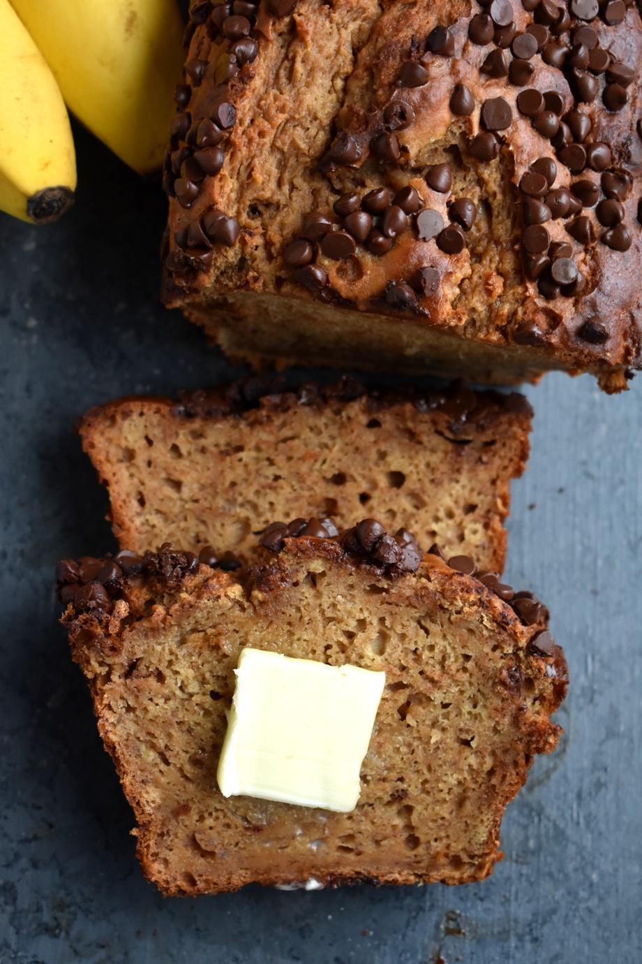 Honey Greek Yogurt Banana Bread slice