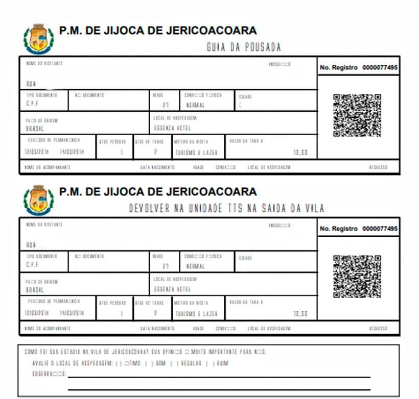 Voucher para entregar na Pousada  - Taxa de turismo em Jericoacoara: como gerar e pagar o boleto