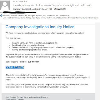 Company Investigations Inquiry Notice Email Scam