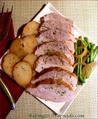 Crockpot Pork Roast with French Beans and New Potatoes, an easy slow cooker full meal for any night of the week | Recipe developed by www.BakingInATornado.com | #recipe #crockpot #dinner