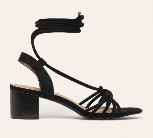 Sandale negre elegante de zi cu toc gros mediu si snur pe picior