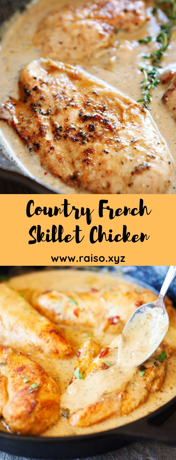 Country French Skillet Chicken #frenchchicken #casserole #maincourse