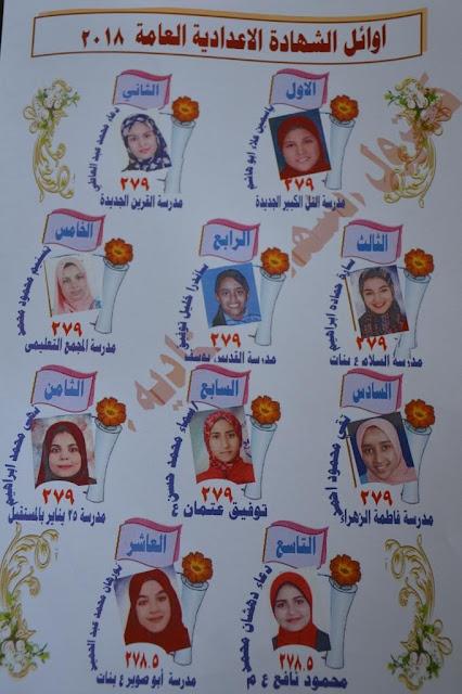 بالصور والأسماء:أوائل الشهادة الاعدادية محافظة الاسماعيلية اخر العام 2018