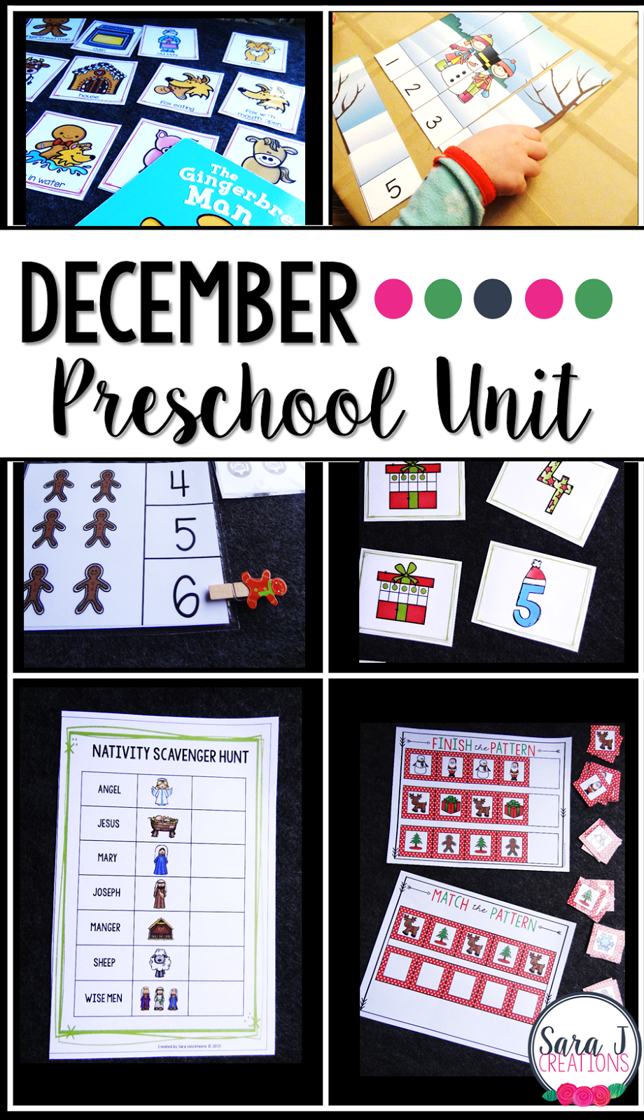 Preschool and kindergarten activities with a Christmas theme.Practice patterning, letter and number identification, counting, sequencing and more!