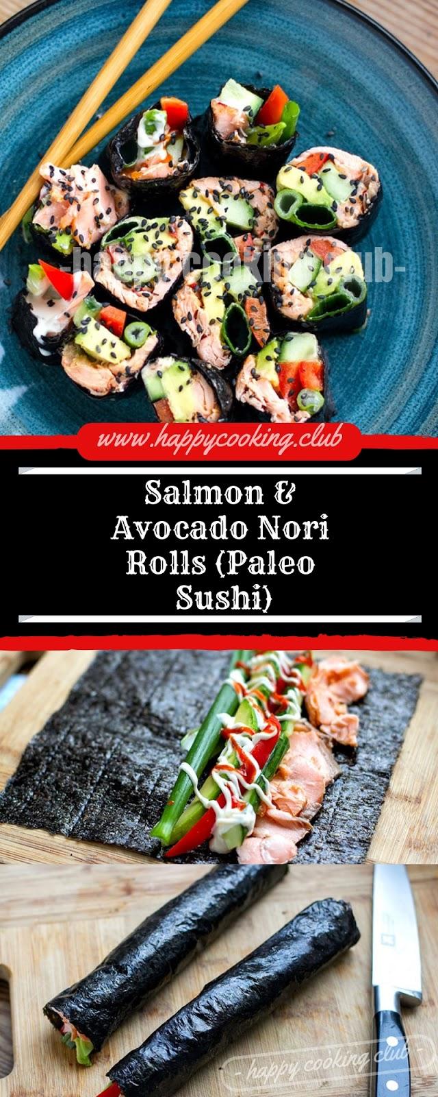 Salmon & Avocado Nori Rolls (Paleo Sushi)