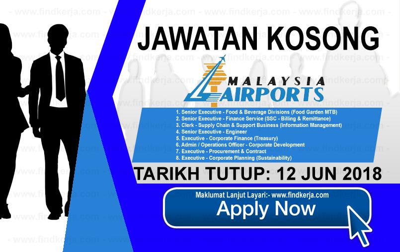 Jawatan Kerja Kosong MAHB - Malaysia Airports Holdings Berhad logo www.findkerja.com www.ohjob.info jun 2018