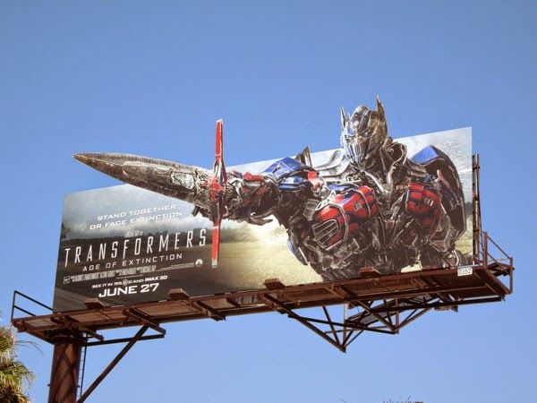Transformers Age of Extinction Optimus Prime sword billboard