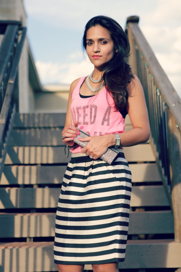 bershka tank, banana republic Striped skirt, chain necklaces, shop jami, tanvii.com,
