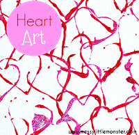 Cookie cutter heart art for kids