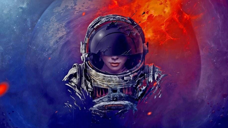 Astronaut, Girl, Digital Art, Sci-Fi, 4K, #4.73