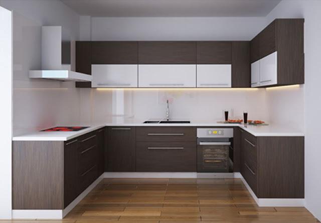 Tủ bếp Laminate kiểu chữ U thanh lịch