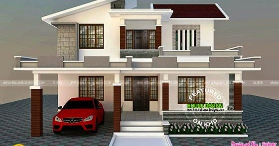 Single House Front Elevation Models : Low cost contemporary style villa kerala home design and