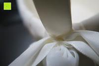 Schleife zoomen: Runde Elfenbein Satin bowknot Hochzeit Blumenmädchen Korb Blumenkinderkörbchen