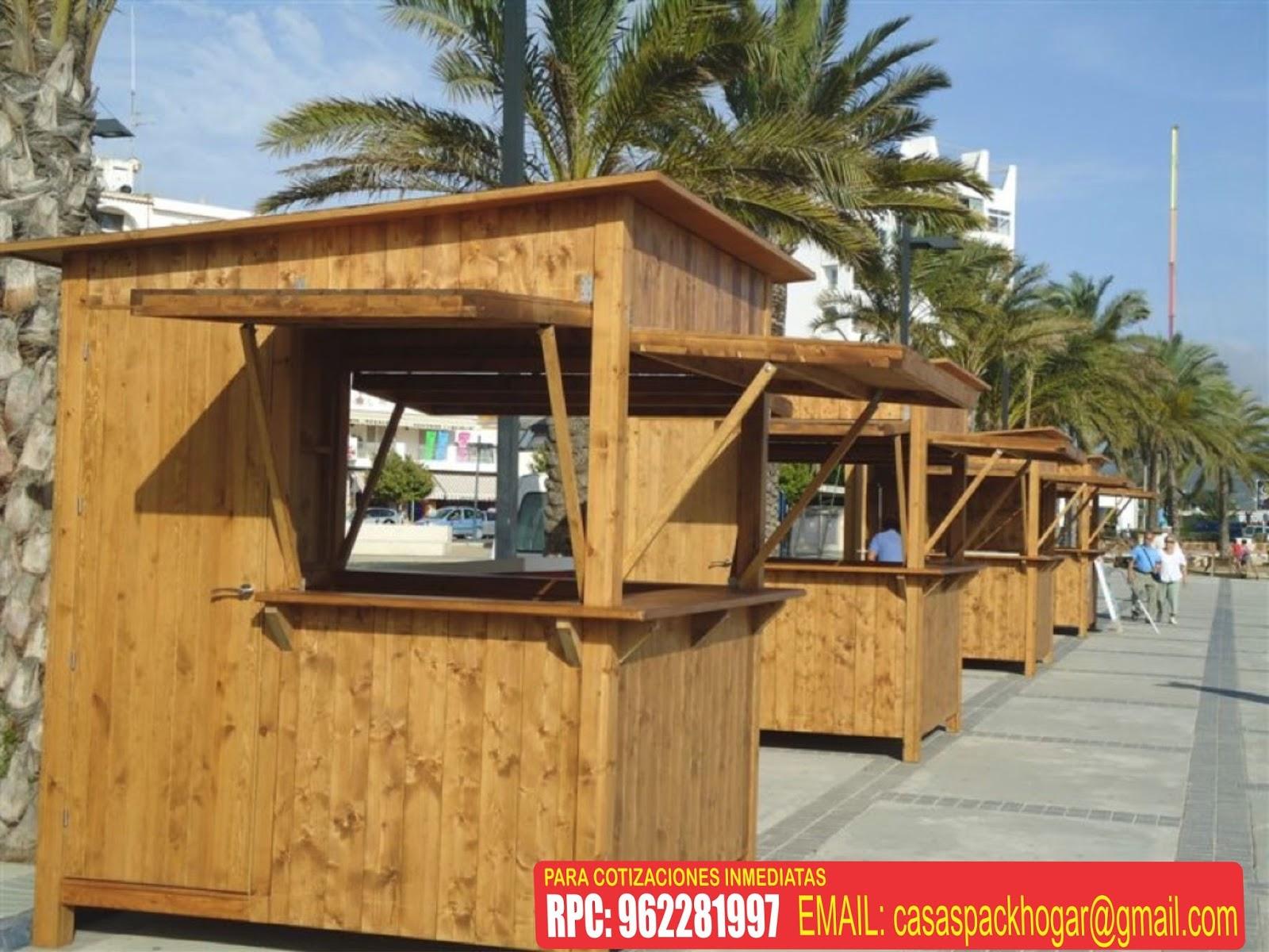 Casetas prefabricadas para ferias gastron micos packhogar for Kiosco de madera para jardin