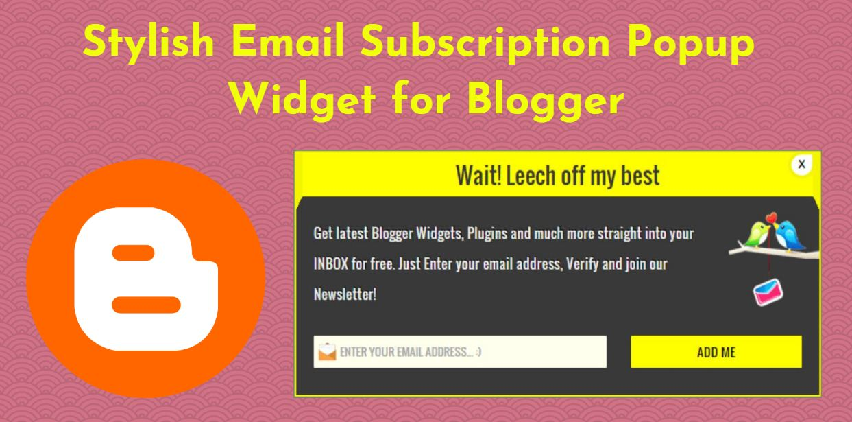 Stylish Email Subscription Popup widget for Blogger