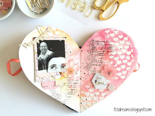 DIY mini album san valentin, Heidi Swapp, Mini Minc, Mini Album, scrap, scrapbooking, scrapbook. Watercolor, Mix Media.