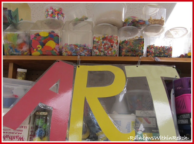 Organize your Art Center (from Organizational RoundUP via RainbowsWIthinReach)