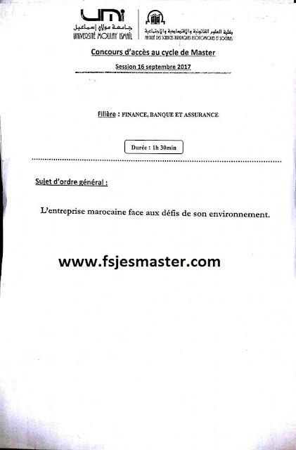 Exemple Concours Master Finance Banque et Assurance 2017-2018 - fsjes Meknès