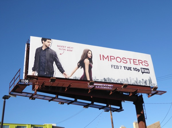 Imposters series launch billboard