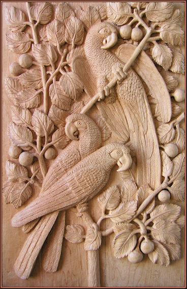 Guacamayos. Talla en madera