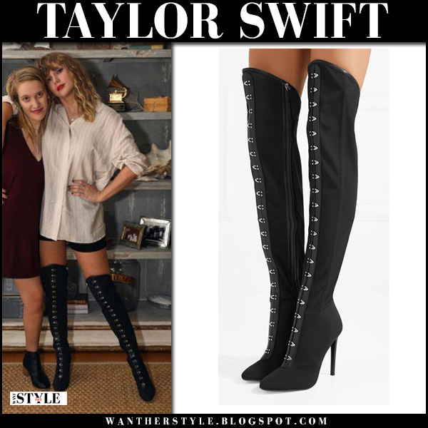 Taylor swift in black over the knee boots giuseppe zanotti october 23 2017 fashion