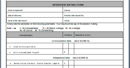 Interview+Rating+Form+in+word+doc+1  Th P Resume Format Doc on