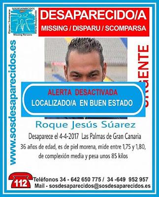 El hombre que se encontraba como desaparecido en Las Palmas de Gran Canaria, Roque J.Suárez, localizado en buen estado