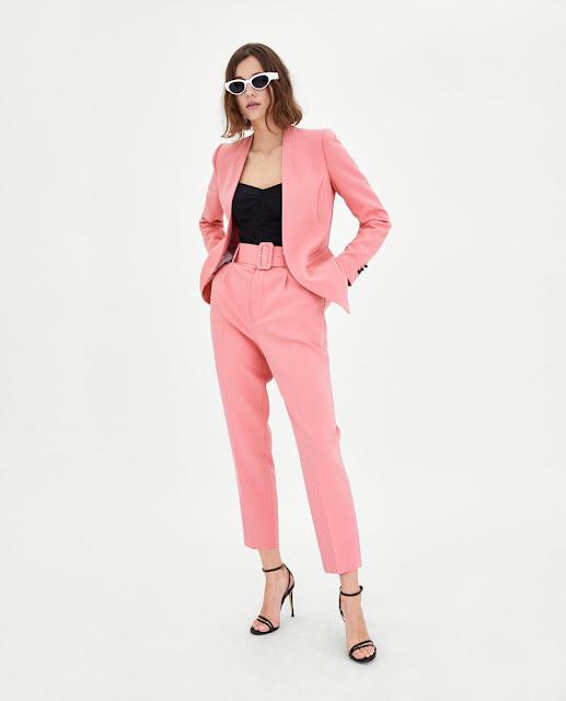 traje chaqueta rosa zara primavera verano