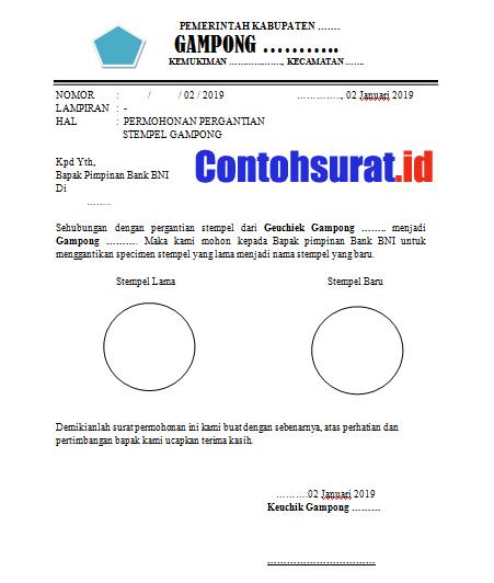 Contoh Surat Pergantian Stempel Untuk Administrasi Bank
