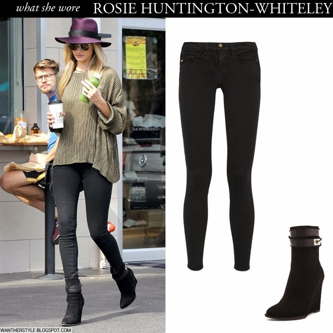 WHAT SHE WORE  Rosie Huntington-Whiteley in black suede wedge ankle ... 353dab6d7