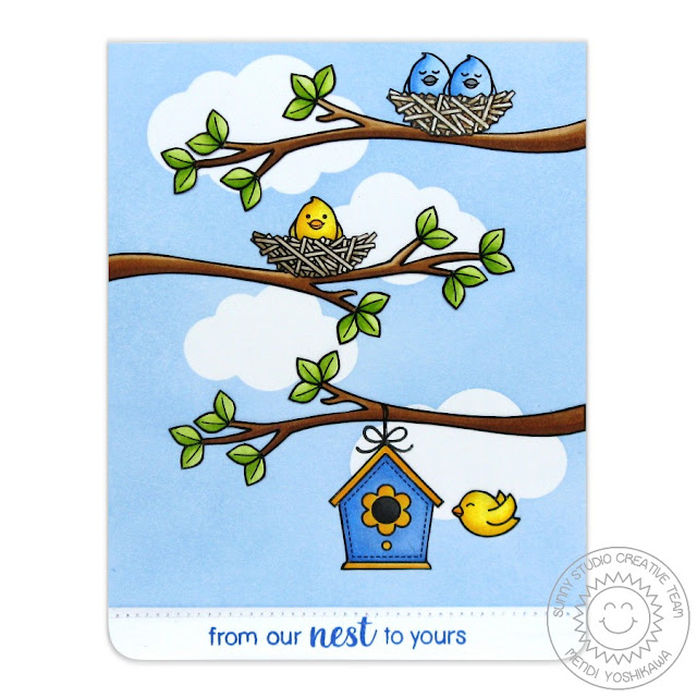 Sunny Studio Stamps A Bird's Life From Our Nest To Yours Card by Mendi Yoshikawa