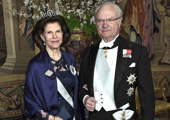 Crown Princess Victoria wore Green gown and Anya Hindmarch Gold Metallic Clutch Princess Sofia wore red gown and  silver diamond Metallic Clutch, diamond tiara.